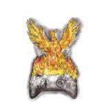 Phoenix che aumenta sopra il regolatore bruciante Tattoo del gioco Immagini Stock Libere da Diritti