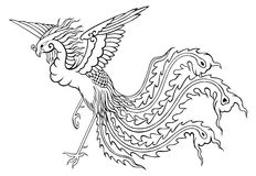Phoenix chinese style for coloring. Phoenix chinese style on white background for coloring Stock Images