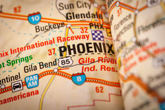 Phoenix City on a Road Map Royalty Free Stock Image