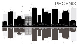 Phoenix City skyline black and white silhouette with reflections. Vector illustration. Simple flat concept for tourism presentation, banner, placard or web royalty free illustration