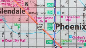 Roads on the map around the city of Phoenix, USA, June 2018. Phoenix is a city in the United States of America, the capital of the county of Maricopa, and stock video