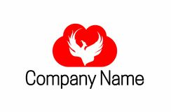 Phoenix cloud logo. A logo that depicts a phoenix bird rising, a symbol of resurrection in a cloud. Good for software companies Stock Photography
