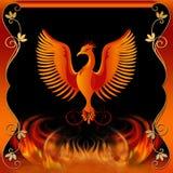 Phoenix con el fuego y la frontera decorativa Imagen de archivo
