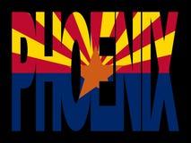 Phoenix con el indicador de Arizona Imagenes de archivo