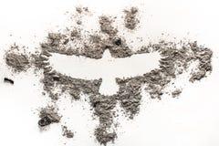 Phoenix, de tekening van de adelaarsvogel in as als brand, geboorte, uitsterven, l Stock Afbeeldingen