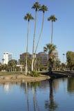 Phoenix downtown as seen from Encanto Park Lake, AZ Royalty Free Stock Photography
