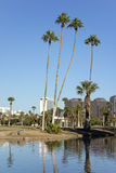 Phoenix downtown as seen from Encanto Park Lake, AZ Stock Photography