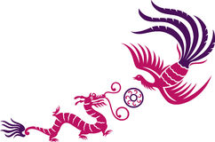 Phoenix & Dragon. A decorative Phoenix and dragon with fireball stock illustration