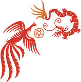 Phoenix & Dragon. A decorative Phoenix and dragon with fireball royalty free illustration