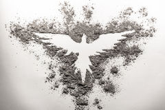 Phoenix drawing made in ash Royalty Free Stock Images