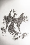 Phoenix, eagle bird drawing in ash as life, death symbol Royalty Free Stock Photos