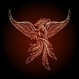 The Phoenix Ebmlem. Phoenix emblem drawn in tattoo style Royalty Free Stock Image