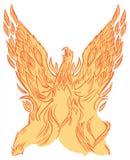 Phoenix eller konst för gem för Firebird resningvektor royaltyfria foton