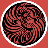 Phoenix emblem on the red background. Vector illustration royalty free stock photos