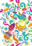 Phoenix en bloemenpatroonachtergrond vector illustratie