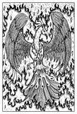 Phoenix en fuego Ejemplo grabado de la fantasía stock de ilustración