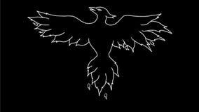 Phoenix en las llamas que dibujan la 2.a animación almacen de metraje de vídeo