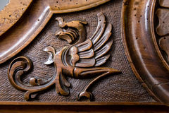 Phoenix figure carved in the wood Stock Images