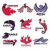 Phoenix fire bird fantasy eagle vector template company icons set. Phoenix bird or fantasy eagle logo templates set for security or innovation company. Vector Royalty Free Stock Photos