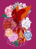 Phoenix fire bird with Peony flower and rose on cloud and wave background.Hand drawn Japanese tattoo style.Beautiful  pho. Colorful Phoenix fire bird with Peony Royalty Free Stock Photos