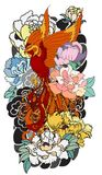 Phoenix fire bird with Peony flower and rose on cloud and wave background.Hand drawn Japanese tattoo style.Beautiful  pho. Colorful Phoenix fire bird with Peony Royalty Free Stock Photo