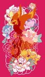 Phoenix fire bird with Peony flower and rose on cloud and wave background.Hand drawn Japanese tattoo style.Beautiful  pho. Colorful Phoenix fire bird with Peony Stock Images