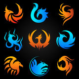Phoenix fire bird vector template icons set. Phoenix logo templates set. Mythic firebird symbol in flame and fire art icons for cororate business design Royalty Free Stock Images