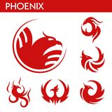Phoenix fire bird vector template icons set. Phoenix bird red logo templates set. Mythic firebird with spread wings symbol of flame fire phoenix bird for Stock Photos