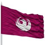 Phoenix Flag on Flagpole, Waving on White Background Stock Image