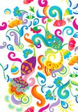 Phoenix and floral pattern background Royalty Free Stock Photos