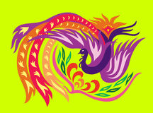 Phoenix with flower. A decorative oriental phoenix flowing surrounding a flower stock illustration