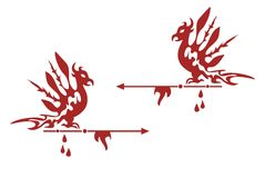 Phoenix frame. Red frame of a phoenix with drops of blood and an arrow tip for text writing inside and as a decorative element Stock Photo