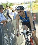 Phoenix Ironman Triathlon. Competitor Dominic Pacheco in the cycling stage of the April 2008 Ironman Triathlon in Tempe Arizona Stock Photography