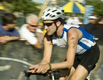 Phoenix Ironman Triathlon. Competitor Mark Hollingsworth in the cycling stage of the April 2008 Ironman Triathlon in Tempe Arizona Royalty Free Stock Image
