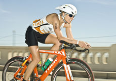 Phoenix Ironman Triathlon. Competitor Tamara Kozulina in the cycling stage of the April 2008 Ironman Triathlon in Tempe Arizona Stock Photography