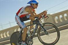 Phoenix Ironman Triathlon. Competitor Jeff Cuddeback in the cycling stage of the April 2008 Ironman Triathlon in Tempe Arizona Stock Image