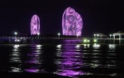 Phoenix island by night. Night view of the Phoenix Island. Sanya, China Royalty Free Stock Photo