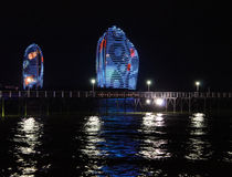 Phoenix island by night. Night view of the Phoenix Island. Sanya, China Royalty Free Stock Images