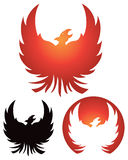 Phoenix Logo. A phoenix rises in flames, logo icon set Stock Image