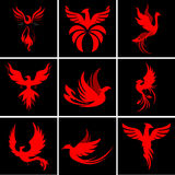 Phoenix Logo Set Stock Illustrationer