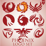 Phoenix logo set 1. This pack includes 9 phoenix logo concepts designed in a simple way so it can be use for multiple proposes like logo ,marks ,symbols or icons Royalty Free Stock Photography
