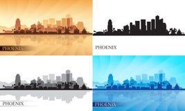 Phoenix miasta linii horyzontu sylwetki ustawiać Obraz Stock