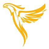 Phoenix nas chamas ostenta o logotype para a equipe da faculdade Isolado no fundo branco Foto de Stock