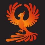 Phoenix no fundo preto Fogo-pássaro Foto de Stock Royalty Free