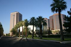 Phoenix Downtown Office And Condo Buildings. Phoenix uptown office buildings on city street lined with palm trees, shrubbery and lush green grass Stock Image