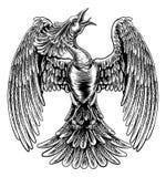 Phoenix ogienia ptak w rocznika Woodcut stylu royalty ilustracja