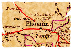 Phoenix old map. Phoenix, Arizona on an old torn map from 1949, isolated. Part of the old map series royalty free stock photography
