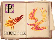 Phoenix. Open book with letter P with Phoenix Stock Images
