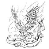Phoenix på en bakgrund av flammor och oranmentaen Royaltyfri Foto