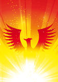 PHOENIX RISING. Stylized illustration of Phoenix rising from flames Stock Photography